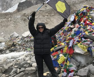 2017 Year In Review - Our fearless leader Mel at the Base camp of Mt Everest